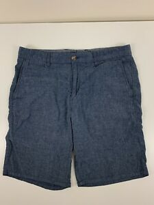 Johnnie-O Blue Shorts Men Size 33 Linen Cotton Polyester Spandex Casual Chambray
