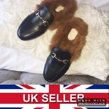 Princetown Womens Black Leather Chain Fur Lined Soled Loafer Slippers - UK 2.5