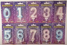 AGE BIRTHDAY CANDLE NUMBER GLITTER CANDLE PINK BLUE TOPPER