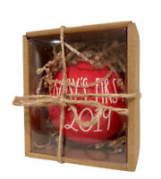 New RAE DUNN Red Ceramic Ornament Baby's First 2019 Christmas Holiday NIB