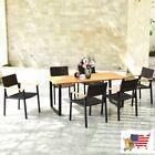 Patio Garden Furniture Set 7 Pcs Outdoor Patio Rattan Dining Chair Table Set