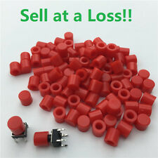 100pcs/lot Red Plastic Cap Hat 6*6mm G61 Tactile Push Button Switch Lid Cover