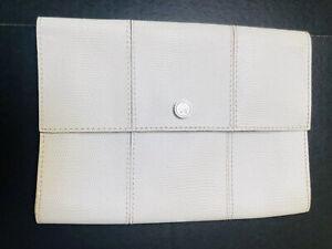 Club Monaco White Leather Fold-over Clutch Purse Handbag Bag 9 X 7