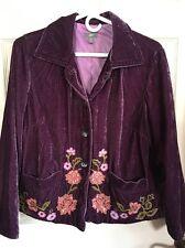 J Jill Purple Crushed Velvet Lined Embroidered Jacket Size Med Petite