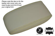 YELLOW STITCH NON SLIDING CHAMPAIGNE BEIGE ARMREST SKIN COVER FITS JAGUAR X-TYPE