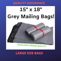 """15 x 18"""" Grey Strong Mailing Parcel Postage Plastic Post Poly Bags Self Seal UK"""