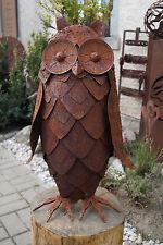 Edelrost Eule Skulptur 3D 63x45cm Tierfigur Gartendeko Metall Handarbeit