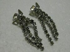 Vintage  Retro Art Deco Style Multi Rhinestone Stud & Triple Dangle Clip Earring