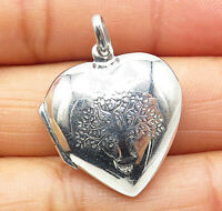 925 Sterling Silver - Etched Tree Of Life Heart Locket Pendant (OPENS) - P5943