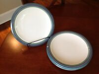 Pfaltzgraff MOUNTAIN SHADOW Dinner Plates Teal Purple Green Bands-1995-set of 4