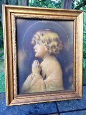 Antique Raised 3D Bessie Pease Gutmann PRAYING HANDS GIRL Sunbeam of GOD's Halo