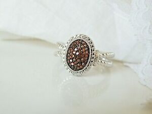 Affinity Sterling Silver 925 Genuine Red Diamond Chunky Cable Oval Ring Size 9
