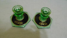 ART DECO GREEN GLASS CANDLESTICK HOLDERS BLACK & GOLD ACCENTS & GOLD DESIGN BASE