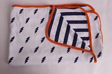 New Pottery Barn Kids Lightning Baby stroller blanket nursery navy orange stripe