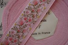 "1y Vintage French 1 1/8"" Pink Floral Brocade Jacquard Ribbon Trim Rosette Rococo"