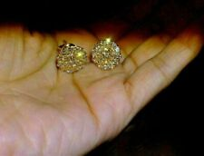 2.50Ct Round Cut Brilliant Diamond Cluster Stud Earrings 14K Yellow Gold Finish