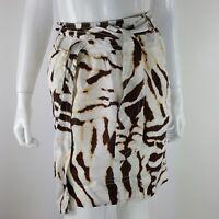 Banana Republic Womens Petite 00P Linen Brown Ivory Zebra Print Skirt w/ Belt