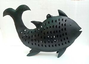 Iron Fish Antique Old Handmade Fish Tea light Candle Figurine Statue Decor Art