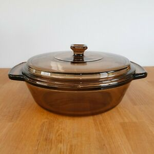 """Vintage Anchor Hocking Round Smoked Glass Lidded Oven / Casserole Dish - 8.25"""""""