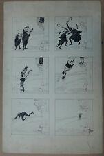 Beau Dessin Encre Planche Originale Scène Musiciens ALBERT GUILLAUME vers 1900