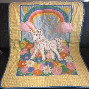 "Vintage Handmade Crib Quilt 33""x42"" Unicorn Rainbow Flowers Yellow Gingham Cute!"