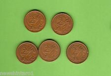 #C14. FIVE SCARCE 1969 AUSTRALIAN TWO CENT COINS
