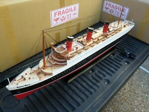 "Queen Mary high quality wooden model ship w/LED light 40"" minor assembly require"