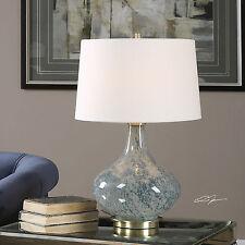 """NEW 25"""" MOTTLED LIGHT BLUE GLASS TABLE LAMP LINEN BRUSHED BRASS BASE LIGHT"""