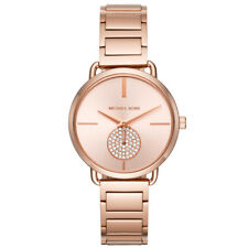 New Michael Kors Ladies Watch Portia Rose Gold Tone Steel Crystal Accents MK3640