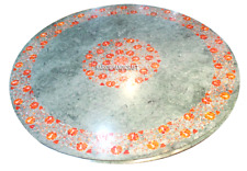 Green Marble Dining Table Top Mosaic Hakik Stone Inlaid Work Patio Decor H3039