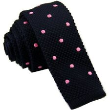 Navy Blue Pink Polka Dot Spotted Knitted Tie Square Sock End Formal