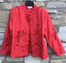 NWT Norm Thompson Embellished Red 100% Silk Long Sleeve Lined Evening Jacket XL