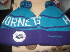 MENS CHARLOTTE HORNETS Mitchell & Ness Winter BEANIE HAT TEAL/PURPLE  NWT