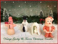 Vintage Christmas Candles Santa Gurley & Tavern Igloo Eskimo & 2 Snowman Unused