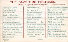 POSTCARD   SOCIAL  /  COMIC    The  Save - Time  Postcard