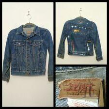 Levi's Denim Jacket Youth Sm. Blue, Killer Fade, Grungy, Painted Back Inv#S9713