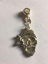 Pirate Skull Bandana TG274 Charm with 5mm Hole fit Charm Bracelet