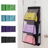6 Pocket Bag Handbag Storage Holder Organizer Rack Hook Hang Wardrobe  New