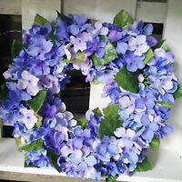 Kranz Tischkranz Blumenkranz 27cm Türkranz Hortensie Wandkranz Blau Grün Deko