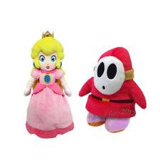 2pcs Super Mario Bros Mario Shy Guy & Princess Peach Plush Doll Figure Toy Gift