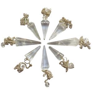 Gemstone Magic Pendulum with Chain - Rock Quartz - Faceted Pointed