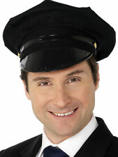 Mens Chauffeur Hat Limo Driver Black Peaked Cap Fancy Dress Costume H36 442