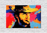 Clint Eastwood Oil Painting Portrait Hand-Painted Art Canvas NOT Print 36x48