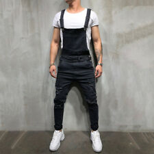 Fashion Men Denim Overalls Suspender Trousers Slim Fit Bib Pants Skinny Jeans