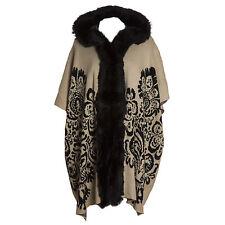 Plus Size Lana Wool Abstract Cream & Black Fur Trim Hooded Waistcoat/Wrap/Coat
