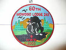 OA Mowogo 243,J15,2003,60th Ann Lodge,Bear,Jacket Patch,JP,NE Georgia Council,GA