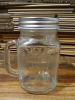 Quaker Steak & Lube Clear Glass Mason Jar Style Beer/Drink Mug With Handle Vtg