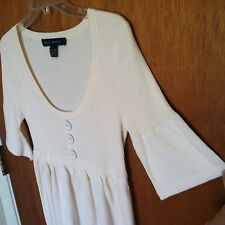 Vtg FRENCH CONNECTION Barbie Doll Bell Sleeve Empire DRESS 10 M Knit White 32''
