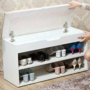 White Shoe Cabinet Storage Bench Hallway Footwear Rack Shoes Stool with PU Seat
