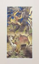 Walker signed Monkey and Wild Boar in the Jungle Mixed Media Mid Century